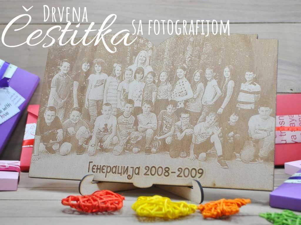 Drvena čestitka sa fotografijom poklon učiteljicama